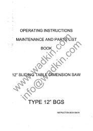 Wadkin BGS Panel Saw Manual and Parts List