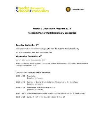 Master's Orientation Program 2013 Research Master ...