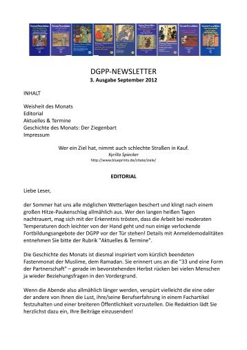 Newsletter 3, September 2012 - Positive und Transkulturelle ...