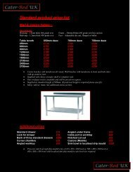 Catering equipment Product list and prices