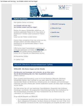 Aus Schaden wird man klug - VÖB Service GmbH