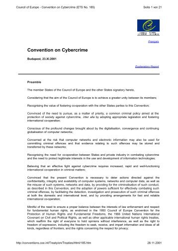 Council of Europe - Convention on Cybercrime (ETS No. 185)