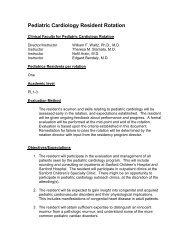 Pediatric Cardiology Resident Rotation