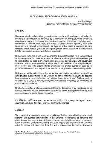 Desempleo Prioridad de la Política. - Universidad de Manizales