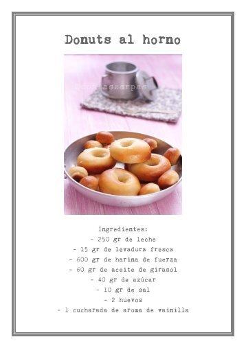 Imprimir aquí receta de Donuts al horno - Con las zarpas en la masa