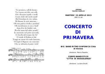 "concerto di primavera - Big-Band Ritmo-Sinfonica ""Città di Verona"""