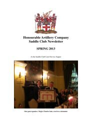 Spring 2013 Saddle Club Newsletter - Honourable Artillery Company
