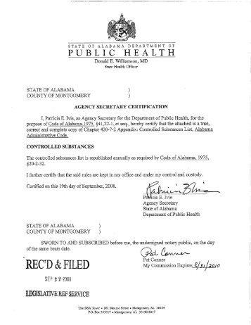 miscellaneous filing - Alabama Administrative Code