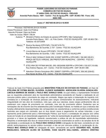PODER JUDICIÁRIO DO ESTADO DO PARANÁ COMARCA DE ...
