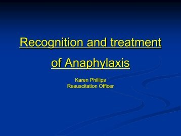 Recognition and treatment of Anaphylaxis - Cornwall Healthy Schools