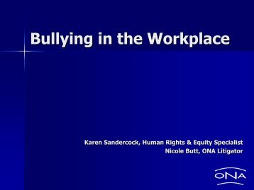 Bullying in the Workplace, February 7, 2012 - Ontario Nurses ...
