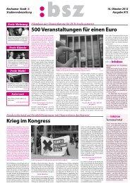 500 Veranstaltungen für einen Euro Krieg im Kongress - BSZ Online