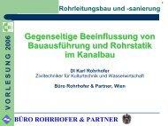 BÜRO ROHRHOFER & PARTNER VORLESUNG 2006 Rohrstatik