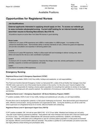 Opportunities for Registered Nurses - University of Rochester ...