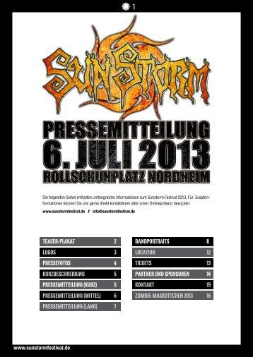 Pressemitteilung zum Download - Sunstorm Festival