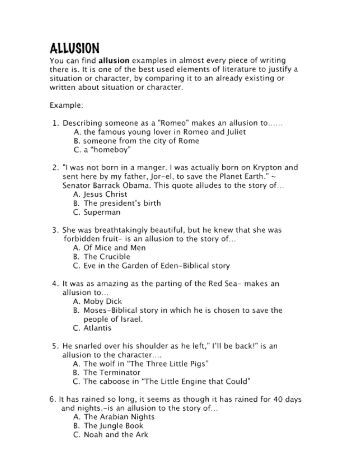 Allusion Worksheets For 3rd Grade Pdf - personification worksheet ...