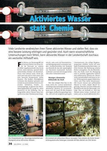 Aktiviertes Wasser statt Chemie