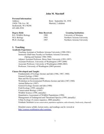John Marzluff Curriculum Vitae - School of Environmental and Forest ...