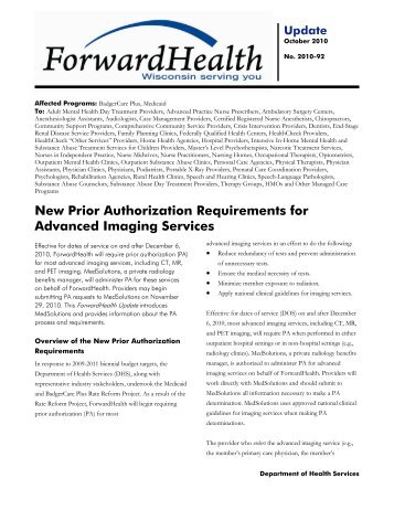 Radiology Benefit Management Program – Prior Authorization for ...
