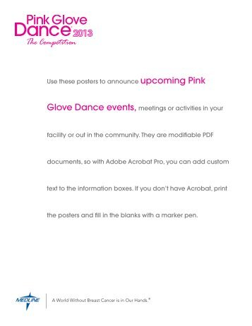Use these posters to announce upcoming Pink Glove ... - Medline