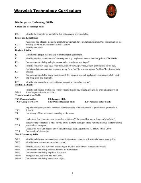 K-6 Computer Technology Curriculum (.pdf) - Warwick School District