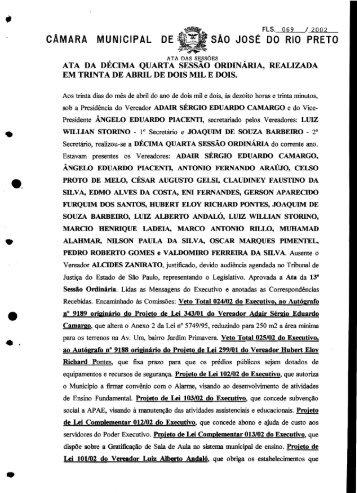 CAMARA MUNICIPAL DE; sAo JosE DO RIO PRETO