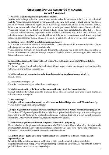 1 ÜHISKONNAÕPETUSE TASEMETÖÖ 9. KLASSILE Variant A ...