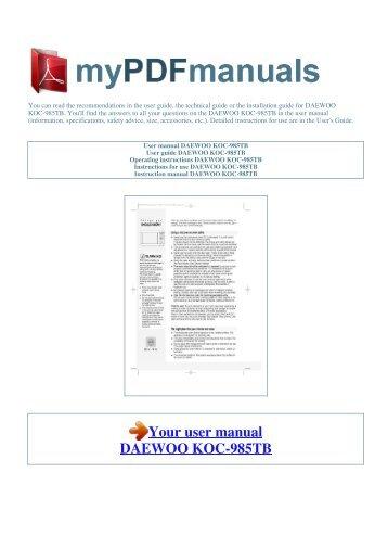 Daewoo Koc-985tba инструкция - фото 10