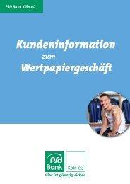 Kundeninformation zum Wertpapiergeschäft - PSD Bank Köln eG