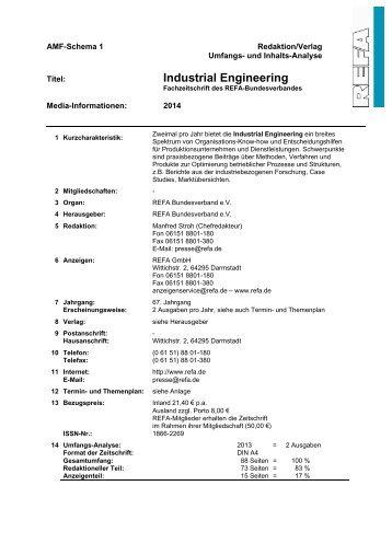 P industrial engineering refa bundesverband ev - Bundesverband wintergarten ev ...