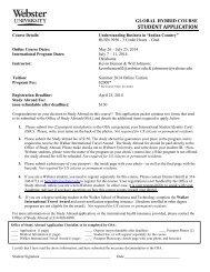 Study Abroad Short Term Application Sheet - Webster University
