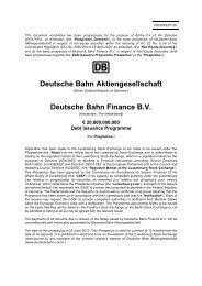Deutsche Bahn Aktiengesellschaft Deutsche Bahn Finance B.V.