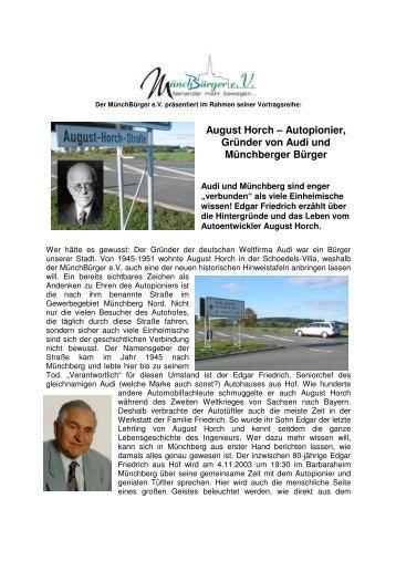 August Horch – Autopionier, Gründer von Audi ... - MünchBürger eV
