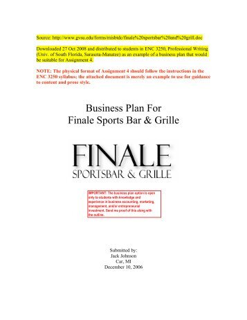Finale sports bar grill business plan wajeb Images