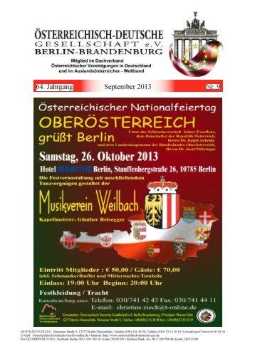 Mitgliederzeitung Nr. 09 September 2013 64. Jahrgang