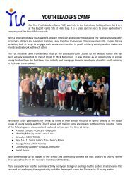 YOUTH LEADERS CAMP - Catholic Diocese of Ballarat