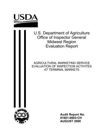U.S. Department of Agriculture Office of Inspector General Midwest ...