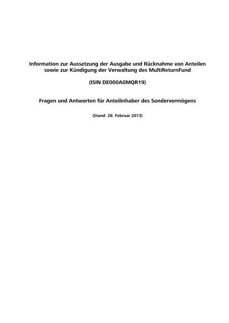 Information zur Aussetzung der Ausgabe und Rücknahme von ...