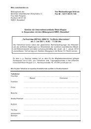 Anmeldung mit Mittagessen - Unternehmerverbände Rhein-Wupper