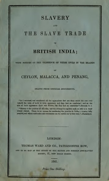 Slavery and the slave trade in British India - Sri Lanka South India ...