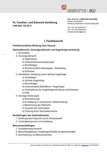 Gliederung Vorlesung Familien- und Erbrecht Vertiefung - Institut für ...