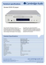 Sonata CD30 CD player Detailed Specifications - taurus high-end ...