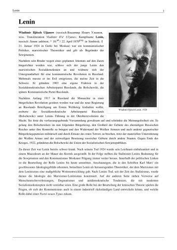 Lenin 1 Wladimir Iljitsch Uljanow (russisch Владимир ... - Ura-linda.de
