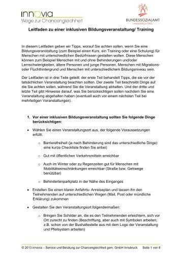 Leitfaden zu einer inklusiven Bildungsveranstaltung ... - VISIO-Tirol