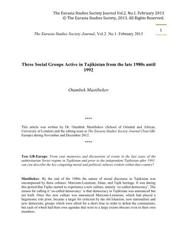 The Eurasia Studies Society Journal Vol.2. No.1 ... - WordPress.com