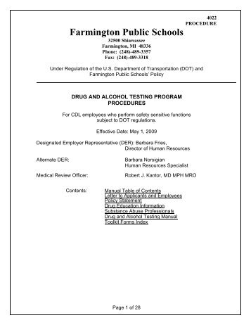 4022 P - Farmington Public Schools