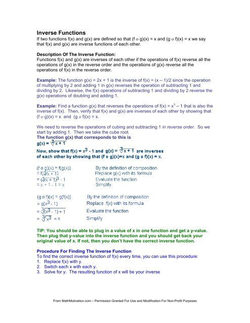 Inverse Functions - PDF Form - Math Motivation