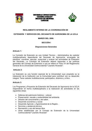 reglamento interno de la coordinación de extensión y servicios del ...