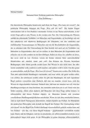 Immanuel Kant. Probleme praktischer Philosophie. Eine Einführung.