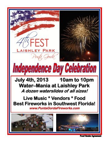 2013 4th Fest Food Vendor Contract - 4th Fest, Laishley Park, Punta ...